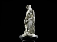 a sculpted white marble figure of 'corinna', also known as 'corinna, the lyric muse' by william brodie