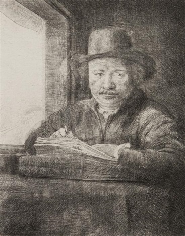 self portrait drawing at a window by rembrandt van rijn