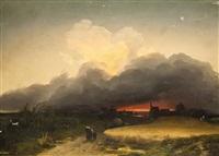 landschaft bei sonnenuntergang by ignaz raffalt