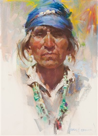 portrait of indian by harley brown