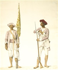 two studies of soldiers in tipu sultan's army (2 works) by robert home