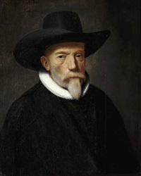 portrait of a nobleman with a hat and white collar by thomas de keyser