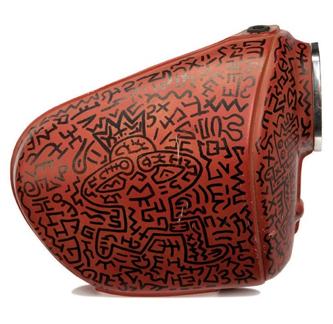 untitled (motorcycle tank and side covers) (3 works) by keith haring