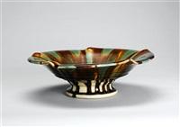 a sansai glaze pedestal dish by takeshi yasuda