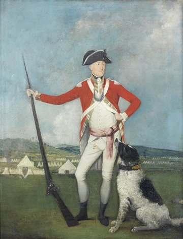 portrait of a gentleman full length in red uniform standing before an army encampment a hound at his feet by johann joseph zoffany