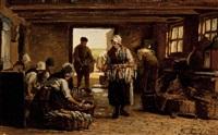 fisher women from scheveningen in a smoking shed by philip lodewijk jacob frederik sadée
