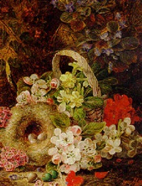 hawthorn, apple blossom and other flowers, a basket and bird's nest, on a mossy bank by henry j. livens