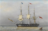 a three-masted merchantman anchored in the humber, signalling that she is preparing to sail by j. ward