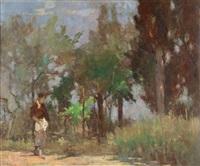 donna in giardino by lodovico tommasi