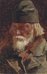 portrait of old peasant by nikolai alexeievich kasatkin