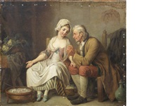 two figures in a kitchen interior by pierre alexandre wille