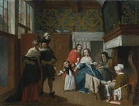 a sick woman with her family and attendants in an interior by jan josef horemans the younger