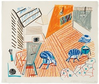 pembroke studio with blue chairs and lamp (moving focus series) by david hockney