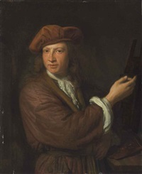self-portrait of the artist at his easel by pieter cornelisz van slingeland