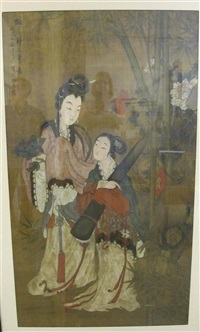 two famele portraits with bamboo by qiu ying