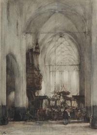 attending a service in the church of hattem by johannes bosboom