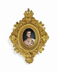 francis joseph i (1830-1916), emperor of austria, in white uniform with gold-embroidered red collar, black stock, wearing the jewel of the order of the golden fleece by georg raab