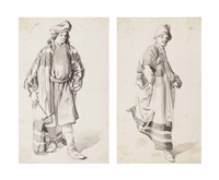 two studies of men in oriental costume (2 works) by johannes lingelbach