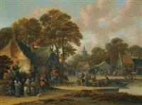 a village market scene by salomon rombouts