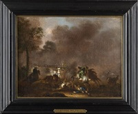 battle scenes (pair) by alexander van gaelen