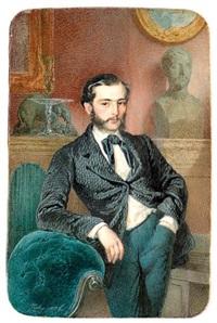 portrait d'un jeune homme de qualité, dans son intérieur by mihály von zichy