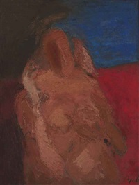 untitled (woman and bird) by tyeb mehta