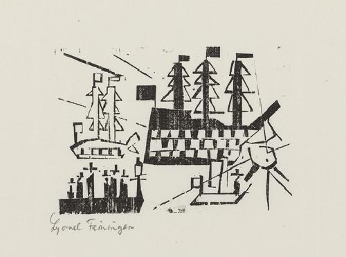 schiffe im hafen pl3 from ten woodcuts by lyonel feininger by lyonel feininger