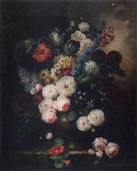 roses, peonies, daisies, anemones and other flowers in an urn on a stone ledge by francois gabriel