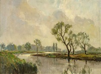 river landscape with grazing cattle by william jackson