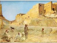 nordafrikanische wüstenstadt mit lagernden arabern by malerie marder