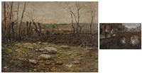paesaggio di campagna e torrente (2 works) by antonio asturi