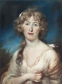 portrait of a young woman, half-length, in a white dress with a pink shawl by john russell
