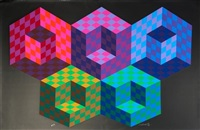 hexa 5 (from the official arts portfolio of the xxivth olympiad, seoul, korea) by victor vasarely