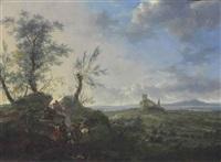 an extensive landscape with a cavalry skirmish, a ruined castle on a hilltop beyond by frederick de moucheron