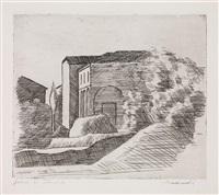 la casetta con il portico e il cipresso by giorgio morandi