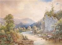 landschaft mit einem felsen am bach und anglern by anton altmann the younger