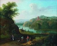 pêcheurs au bord d'une rivière by maximilian blommaerdt