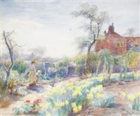 a cottage garden, spring by william gilbert foster