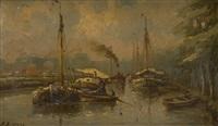 remorqueur au port by henri arden
