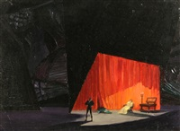 stage design for shakespeare's hamlet n.5 by natan isaevich altman