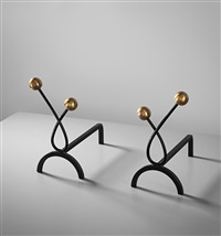 boules andirons (pair) by jean royère