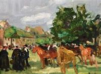 marché aux chevaux en pays bigouden by lucien simon