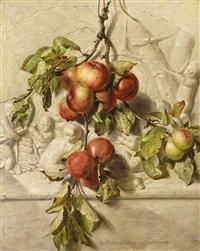 stillleben mit äpfeln vor einer reliefwand by adriana johanna haanen