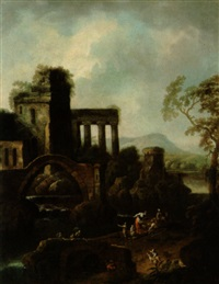 landschaft mit ruinen an einem wasserfall und figuren by karl joseph aigen
