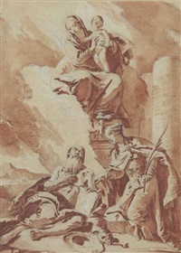 the madonna and child adored by saints jerome and catherine of alexandria by giovanni battista tiepolo