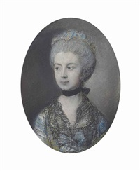 portrait of elizabeth, duchess of buccleuch, half-length, in a blue dress with a lace collar, black choker and lace bonnet by thomas gainsborough