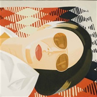 reclining figure/indian blanket by alex katz