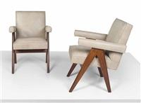 senat armchairs (pair) by pierre jeanneret