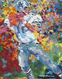 roger staubach, quarterback for the dallas cowboys by leroy neiman