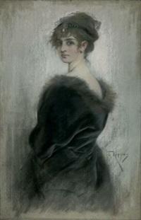 porträt einer jungen dame in edlem pelz by joszi arpad koppay